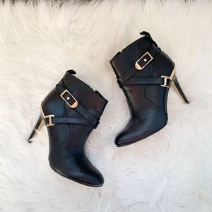 Marc Fisher Black Leather Heeled Booties